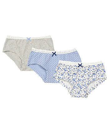 Mothercare Blue Floral Briefs - 3 Pack