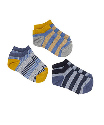 Mothercare Striped Trainer Socks - 3 Pack