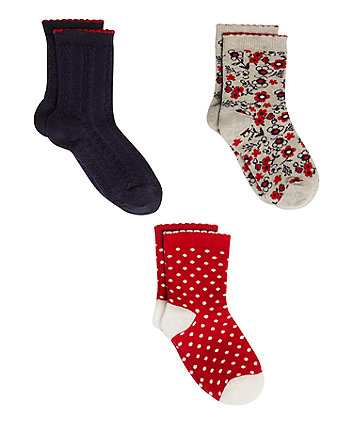 Red, Navy And Grey Socks - 3 Pack