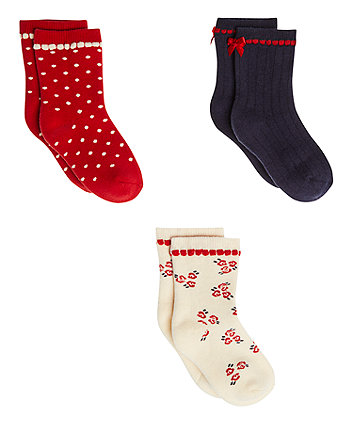 Navy, Red And Cream Terry Socks - 3 Pack