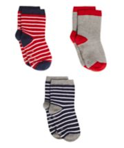 Mothercare Red And Navy Stripe Socks - 3 Pack