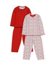 Heritage Red Floral Pyjamas - 2 Pack