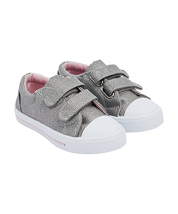 Mothercare Silver Sparkle Canvas Shoes