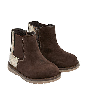 Mothercare First Walker Brown Sparkle Boots