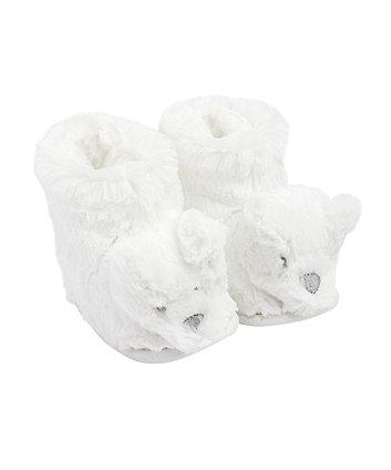 Mothercare White Fluffy Bear Slippers