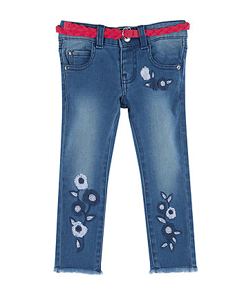 Floral Embroidered Denim Jeans