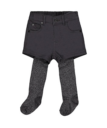 Mothercare Charcoal Shorts And Tights Set