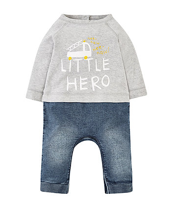 Little Hero Mock Jeans And Top All In One