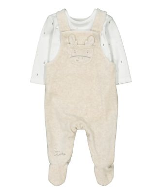 Mothercare My First Little Zoo Giraffe Velour Dungaree And Bodysuit Set