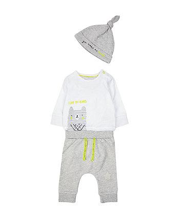 Grey Bear Bodysuit, Jogger And Hat Set
