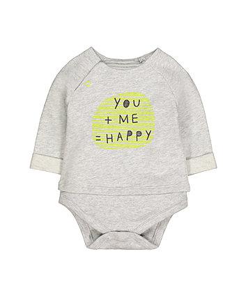 Grey Happy Mock Top Bodysuit