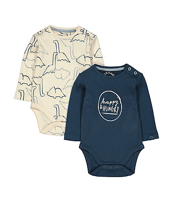 Happy And Hungry Dinosaur Bodysuits - 2 Pack
