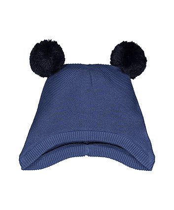 Mothercare Navy Pom Knitted Trapper Hat