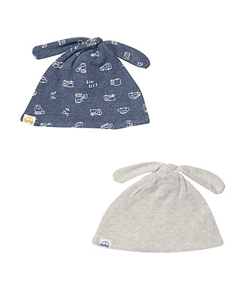 Mothercare Grey Stripe Hats - 2 Pack
