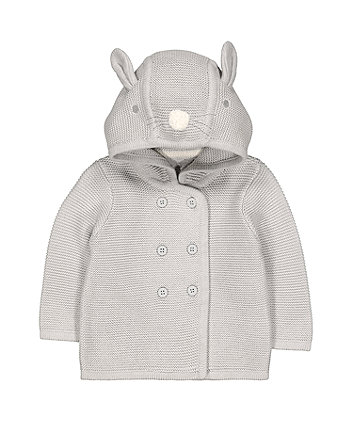 Grey Bunny Knitted Hoodie