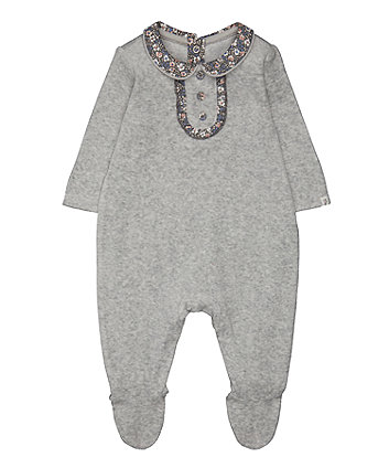 Mothercare Grey Velour Floral All In One