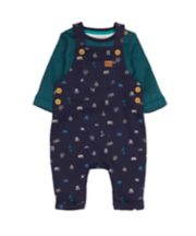 Navy Outdoor Adventure Dungarees And Bodysuit Set