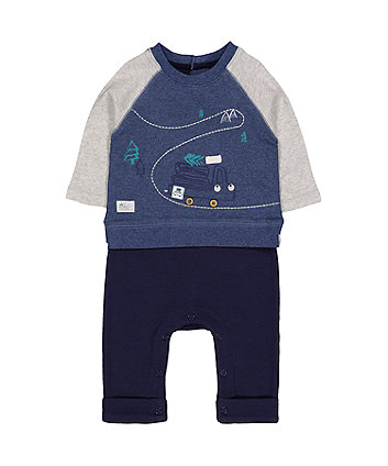 Mothercare Log Truck Mock Sweat Top All In One