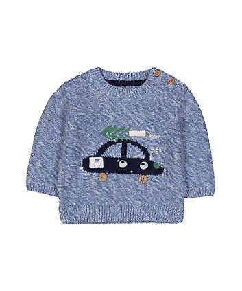 Blue Car Knitted Jumper