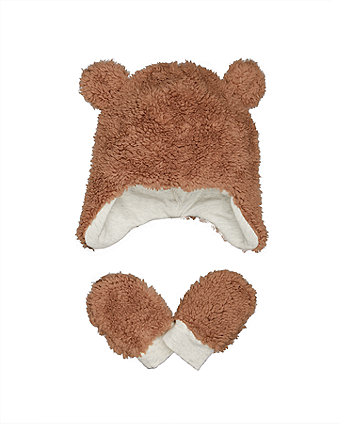 Mothercare Fluffy Hat And Mittens Set
