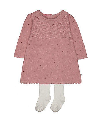 Mothercare Pink Knitted Dress And Tights Set