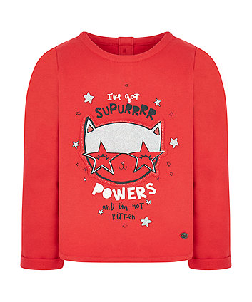 Red Cat Glitter Sweat Top