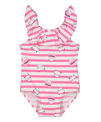 Mothercare Pink Stripe Cat Swimsuit