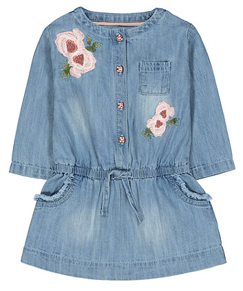 Floral Denim Embroidered Dress