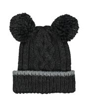 Mothercare Grey Double Pom Knitted Beanie Hat