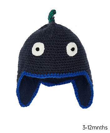 Mothercare Navy Dino Knit Trapper Hat