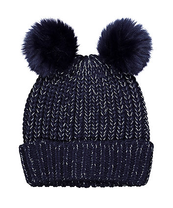 Mothercare Navy Sparkle Double Pom Knitted Beanie Hat