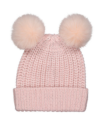 Mothercare Pink Sparkle Double Pom Knitted Beanie Hat