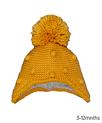Mustard Pom Trapper Hat