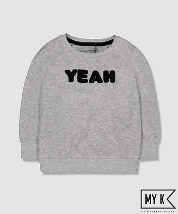 My K Yeah Grey Velour Sweat Top