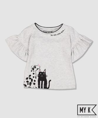 Mothercare My K Grey Frill Sleeve Purfect T-Shirt