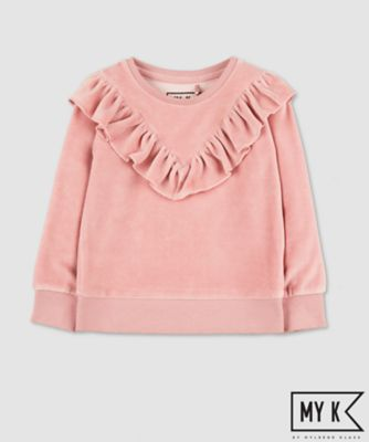 Mothercare My K Pink Frill Velour Sweat Top