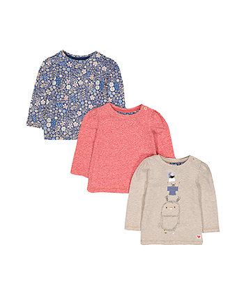 Oatmeal, Floral And Pink T-Shirts - 3 Pack