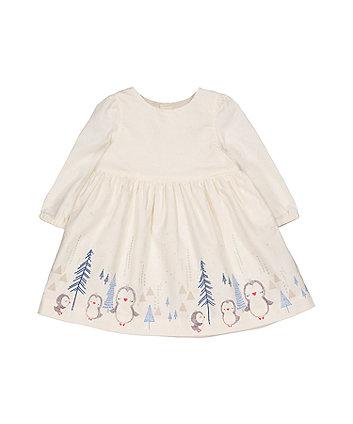 Mothercare Cream Cord Penguin Border Dress