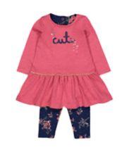 Pink Dress And Leggings Set