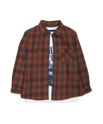 Mothercare Outdoor Adventure Brown Wild One Checked Shirt And T-Shirt