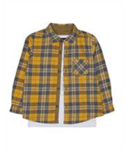 Yellow Checked Shirt And Bear T-Shirt