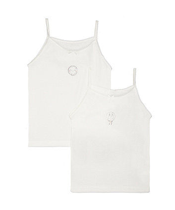 White Space Bunny Cami Vests - 2 Pack