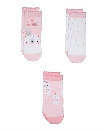 Pink Polar Bear Socks - 3 Pack