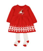 Heritage Red Knitted Robin Dress With Tights Set