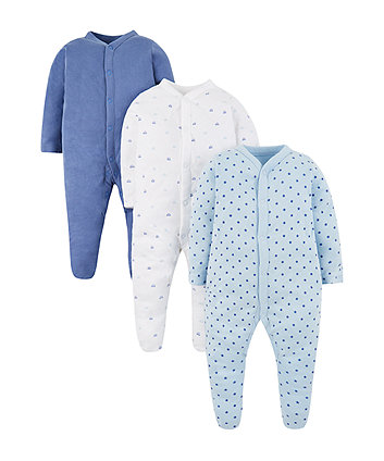Mothercare Blue Sleepsuits - 3 Pack