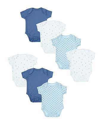 Mothercare Blue And White Bodysuits - 7 Pack