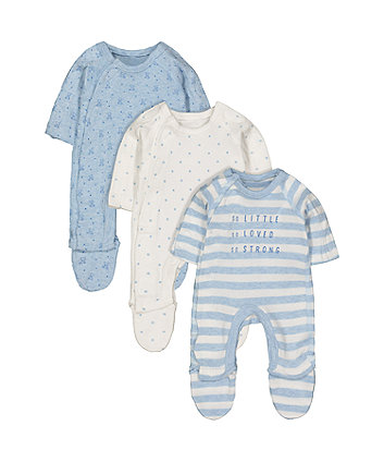 Mothercare Blue Premature Baby Sleepsuits - 3 Pack