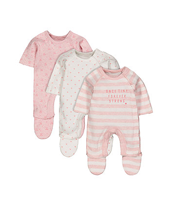 Mothercare Pink Premature Baby Sleepsuits - 3 Pack