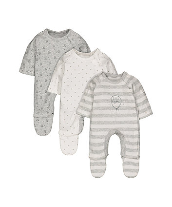 Mothercare Grey Premature Baby Sleepsuits - 3 Pack