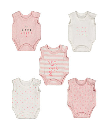 Mothercare Pink Premature Baby Bodysuits – 5 Pack